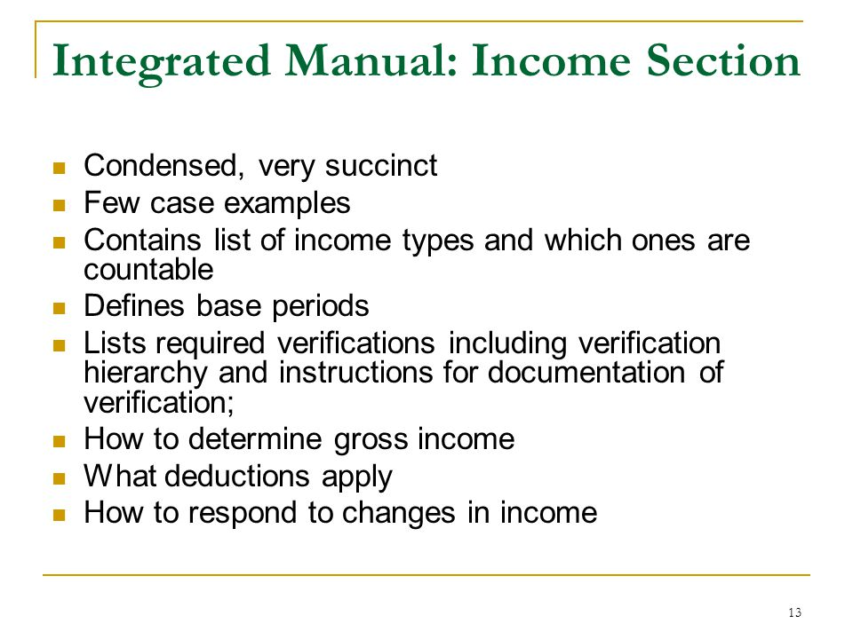 Integrated Manual: Income Section