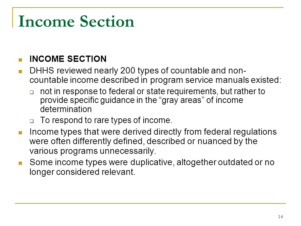Income Section INCOME SECTION