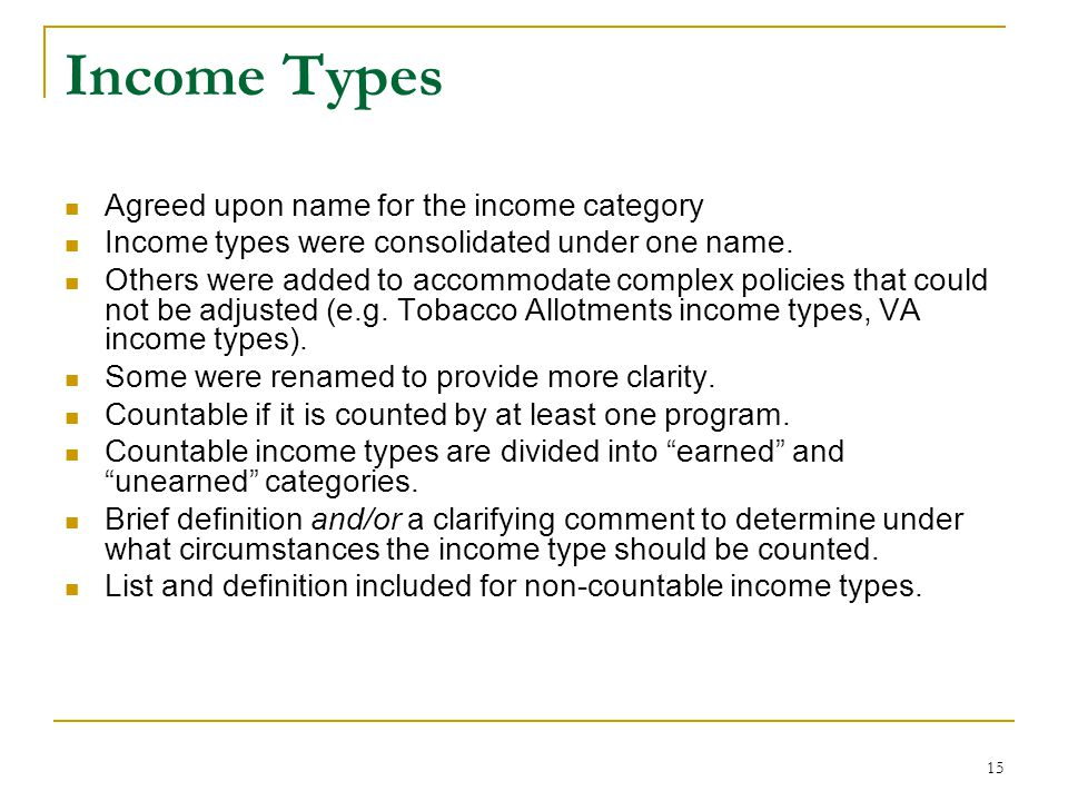 Income Types Agreed upon name for the income category