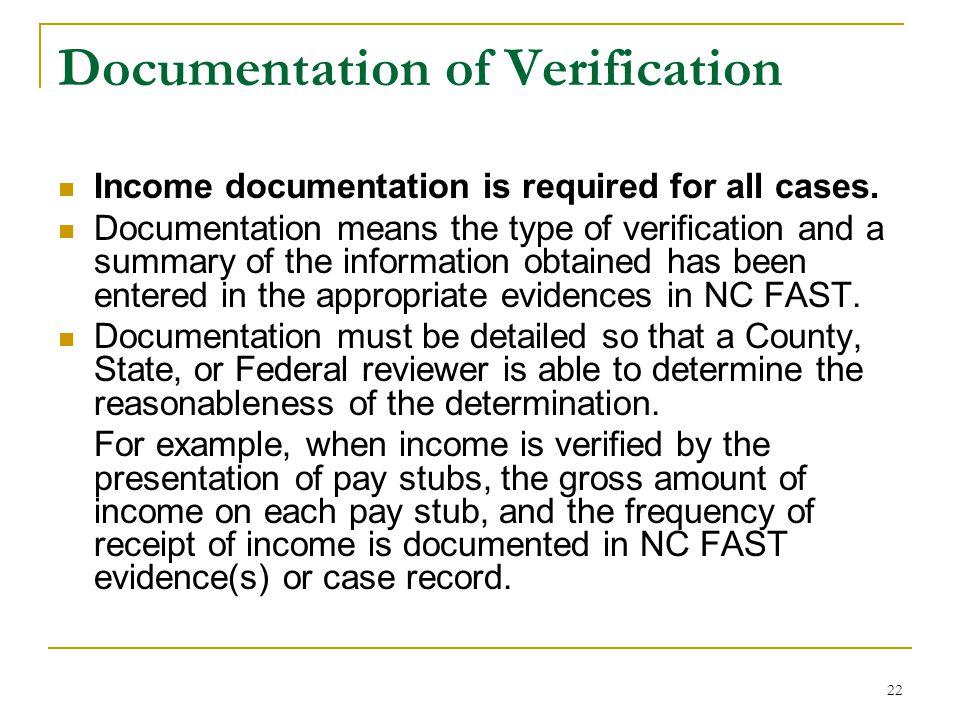 Documentation of Verification