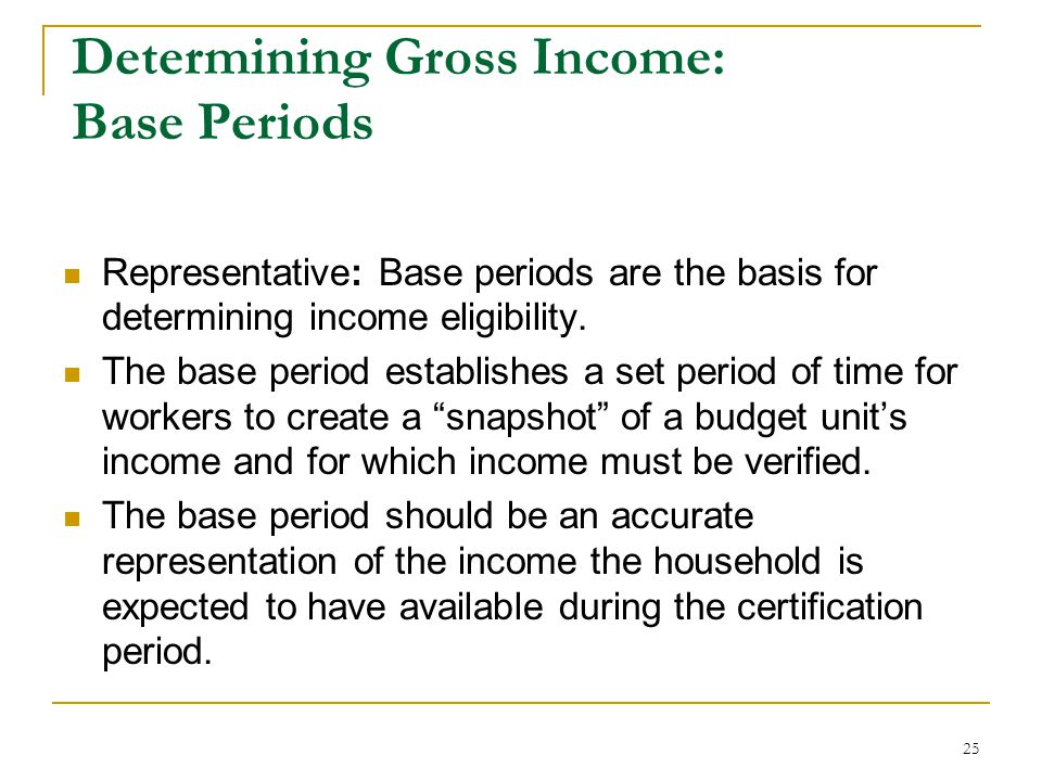Determining Gross Income: Base Periods