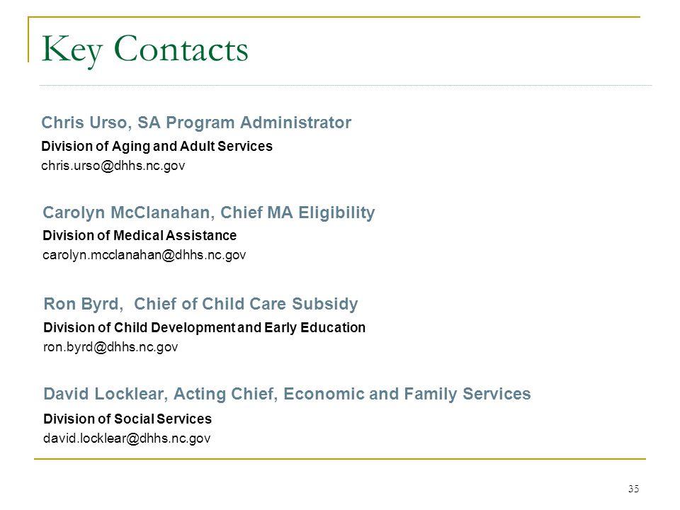 Key Contacts Chris Urso, SA Program Administrator