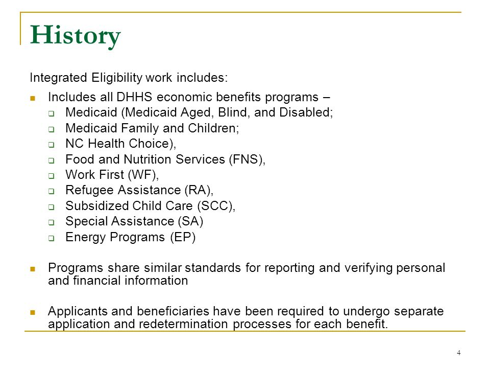 History Integrated Eligibility work includes: