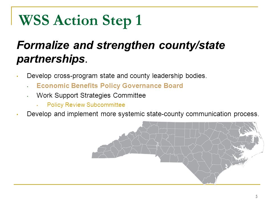 WSS Action Step 1 Formalize and strengthen county/state partnerships.