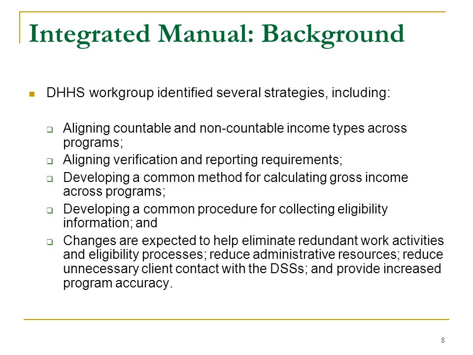 Integrated Manual: Background