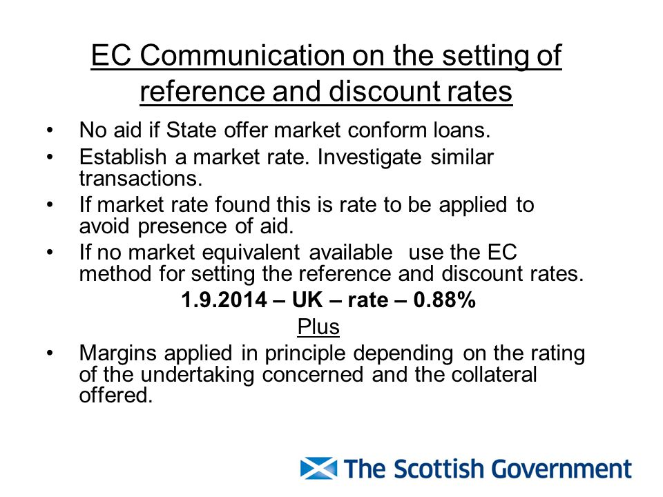 EC Communication on the setting of reference and discount rates