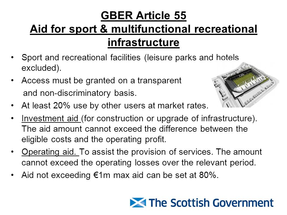 GBER Article 55 Aid for sport & multifunctional recreational infrastructure