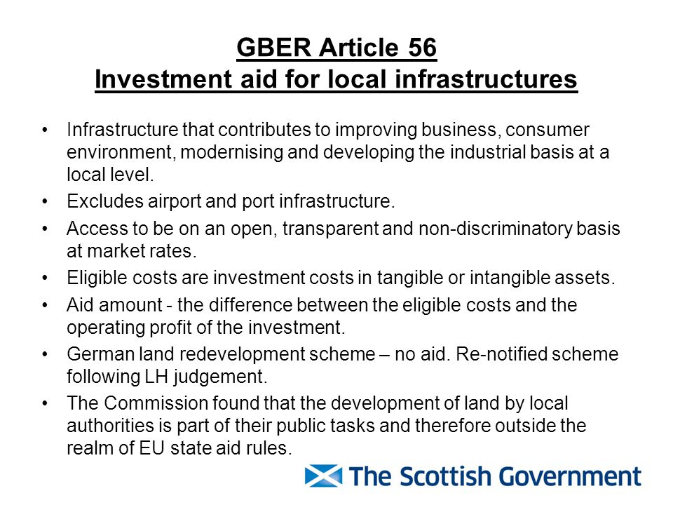 GBER Article 56 Investment aid for local infrastructures