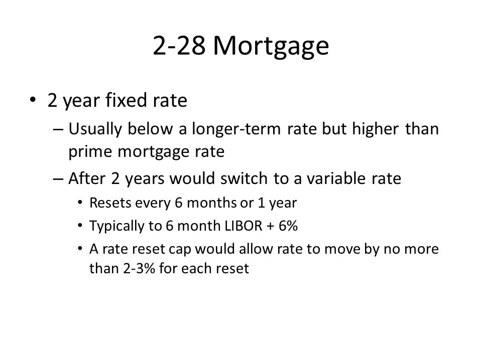 2-28 Mortgage 2 year fixed rate