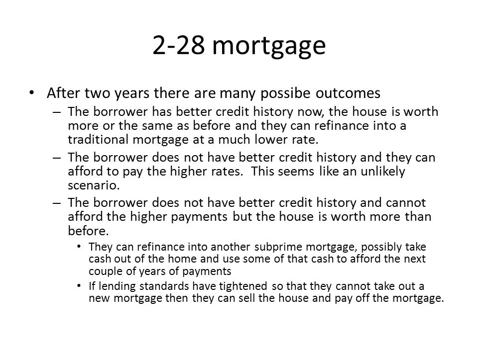 2-28 mortgage After two years there are many possibe outcomes