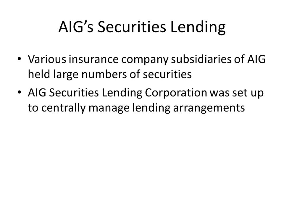 AIG's Securities Lending
