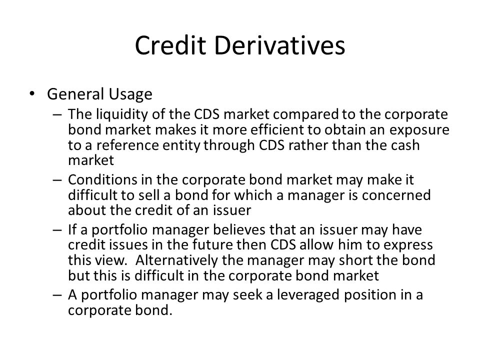 Credit Derivatives General Usage