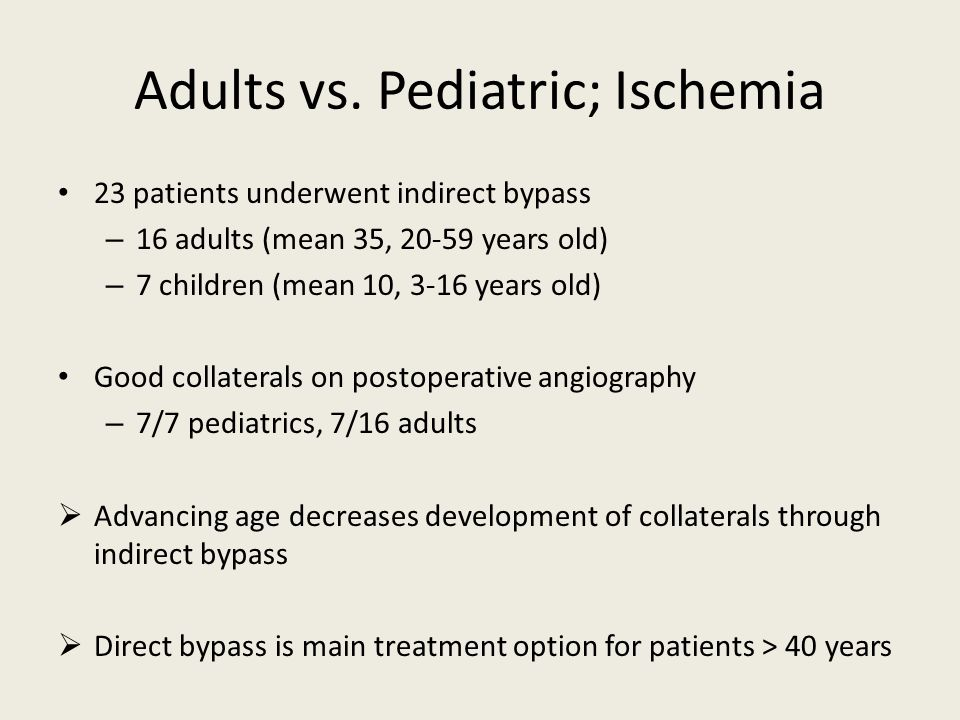 Adults vs. Pediatric; Ischemia