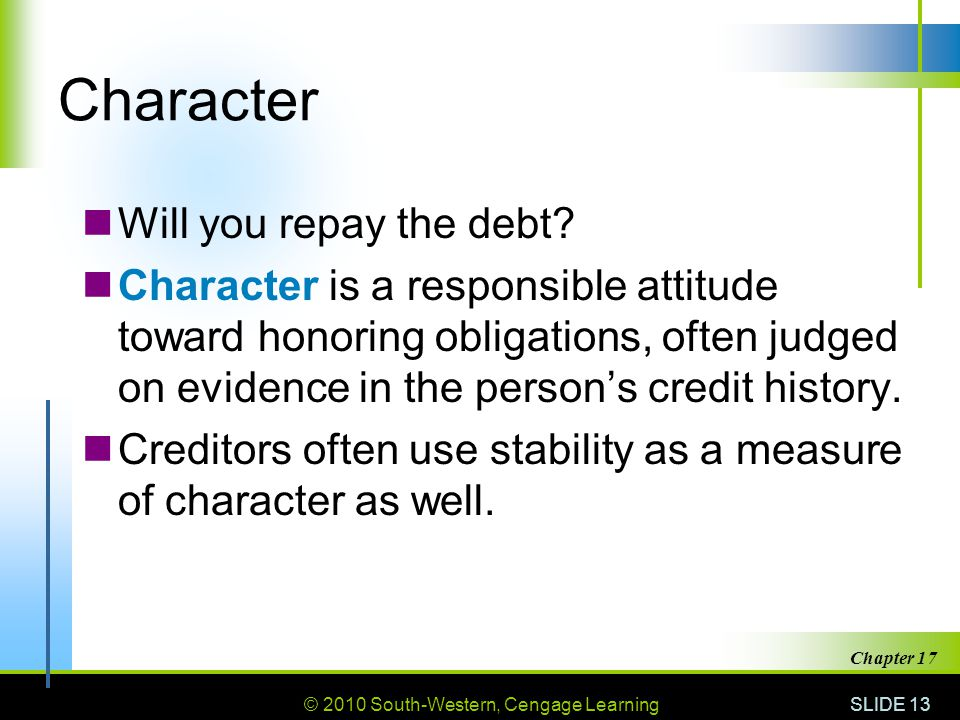 Character Will you repay the debt