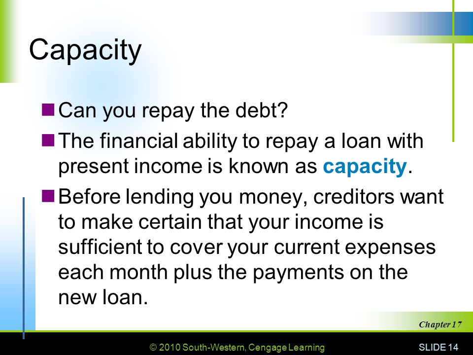 Capacity Can you repay the debt