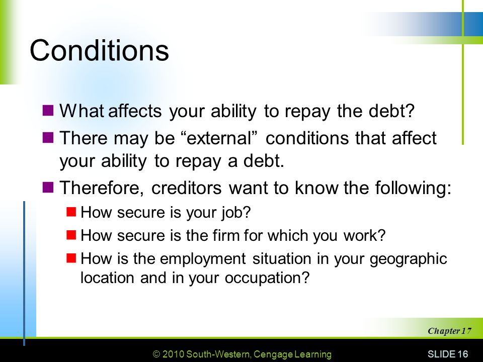 Conditions What affects your ability to repay the debt