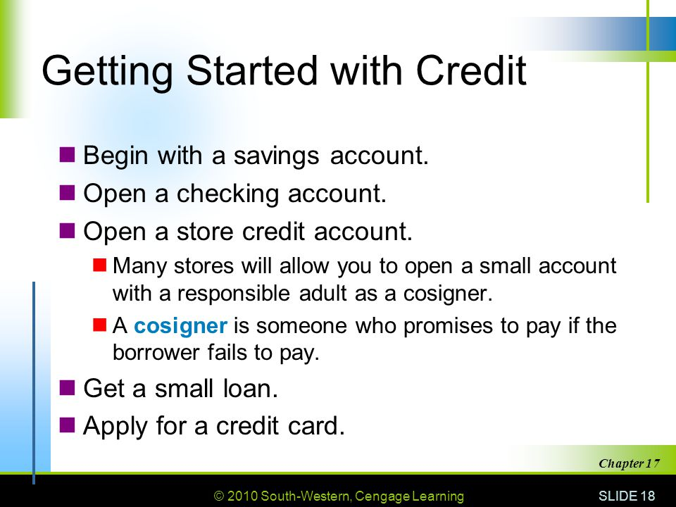 Getting Started with Credit