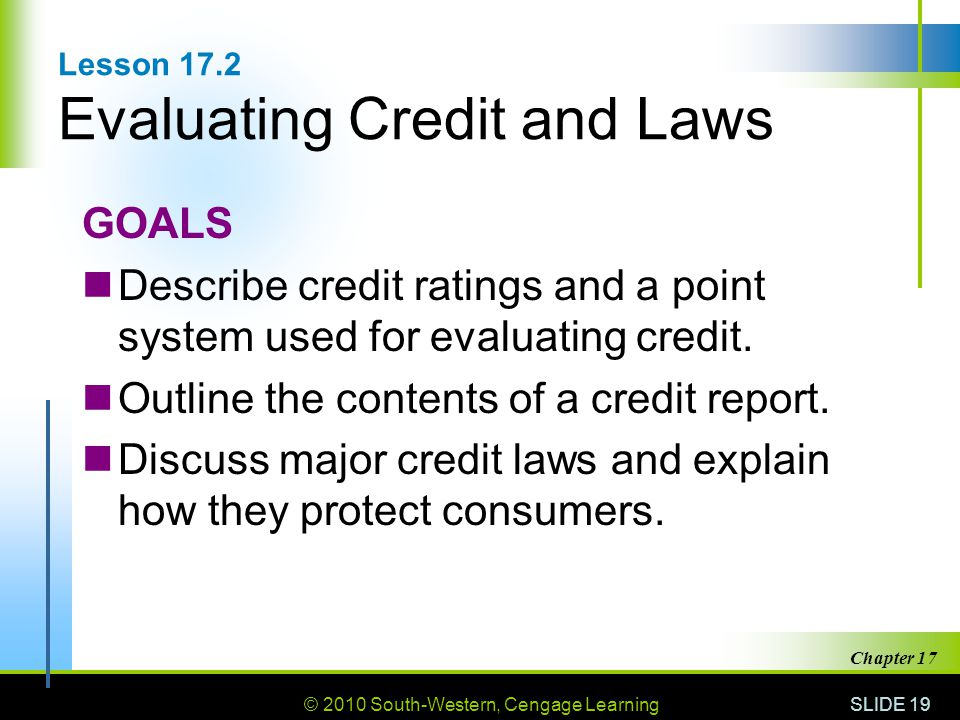 Lesson 17.2 Evaluating Credit and Laws
