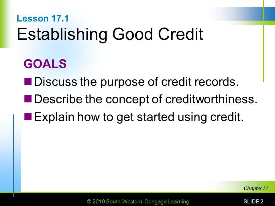 Lesson 17.1 Establishing Good Credit