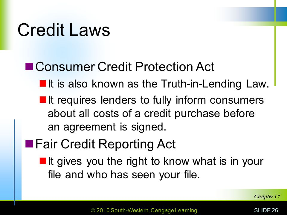 Credit Laws Consumer Credit Protection Act Fair Credit Reporting Act