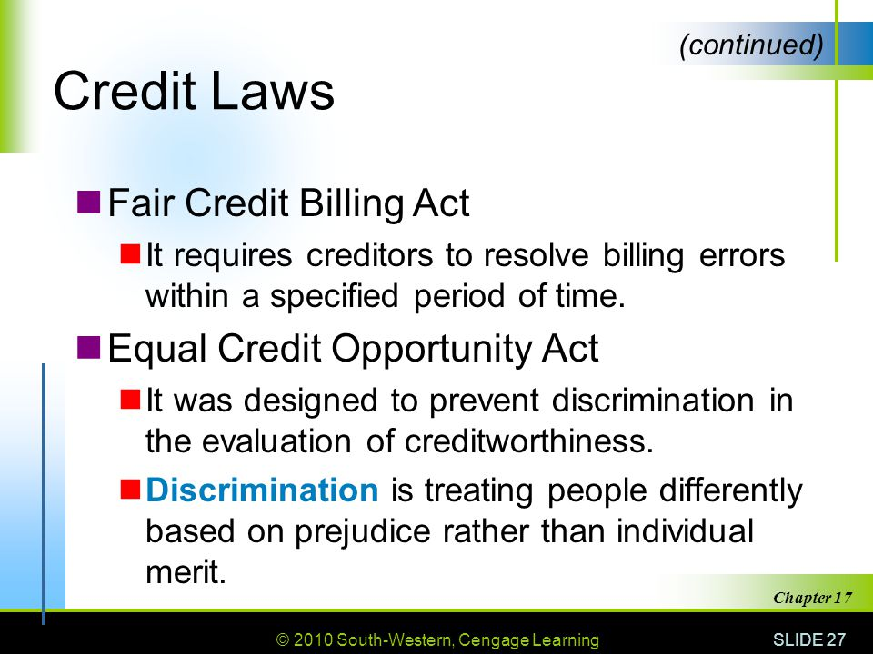 Credit Laws Fair Credit Billing Act Equal Credit Opportunity Act