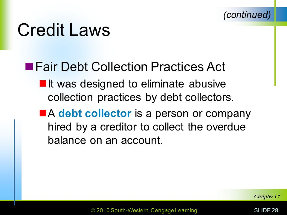 Credit Laws Fair Debt Collection Practices Act