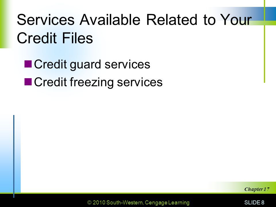 Services Available Related to Your Credit Files