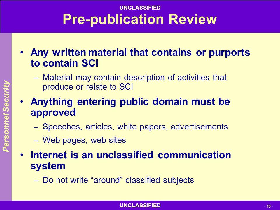 Pre-publication Review