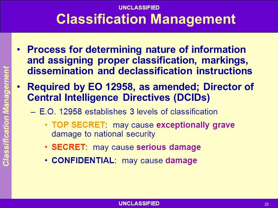 Classification Management