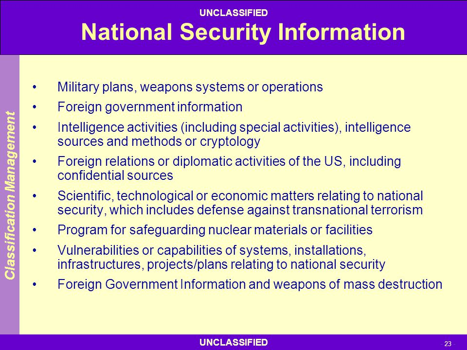 National Security Information