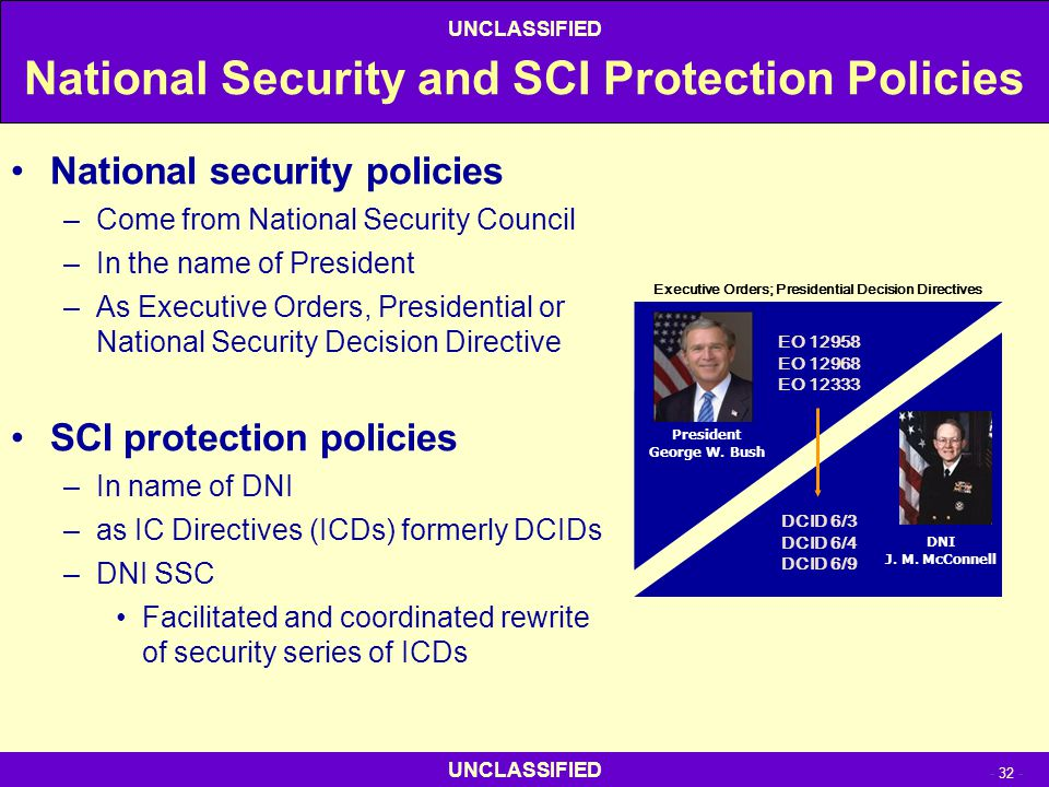 National Security and SCI Protection Policies