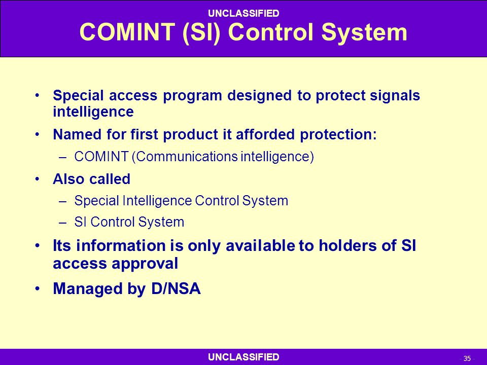 COMINT (SI) Control System