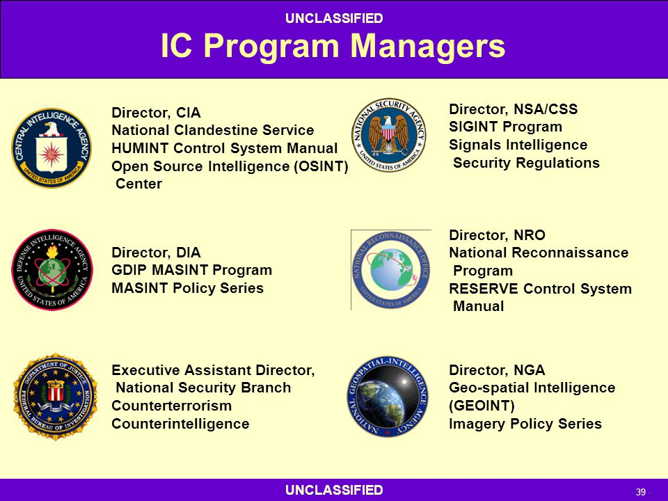 IC Program Managers Director, CIA National Clandestine Service
