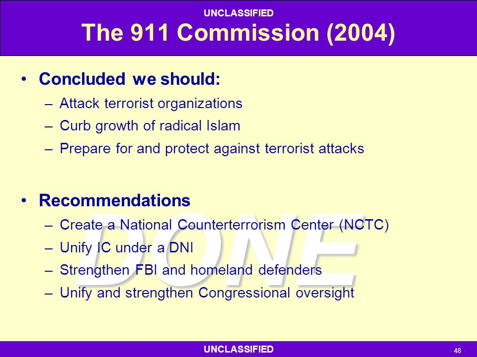 DONE The 911 Commission (2004) Concluded we should: Recommendations