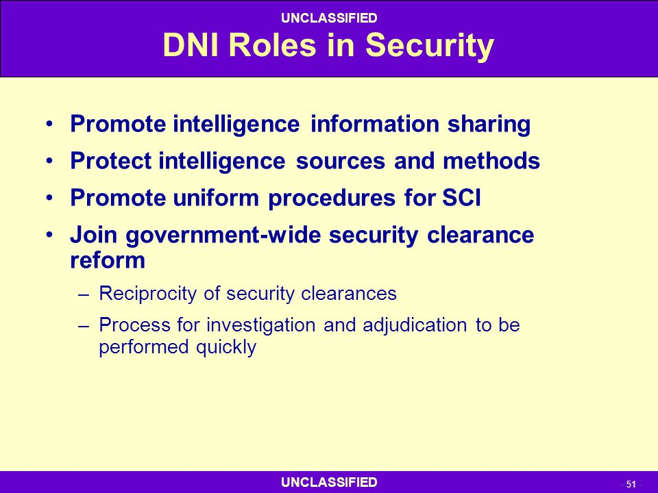 DNI Roles in Security Promote intelligence information sharing