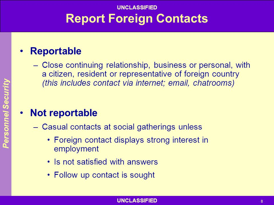 Report Foreign Contacts