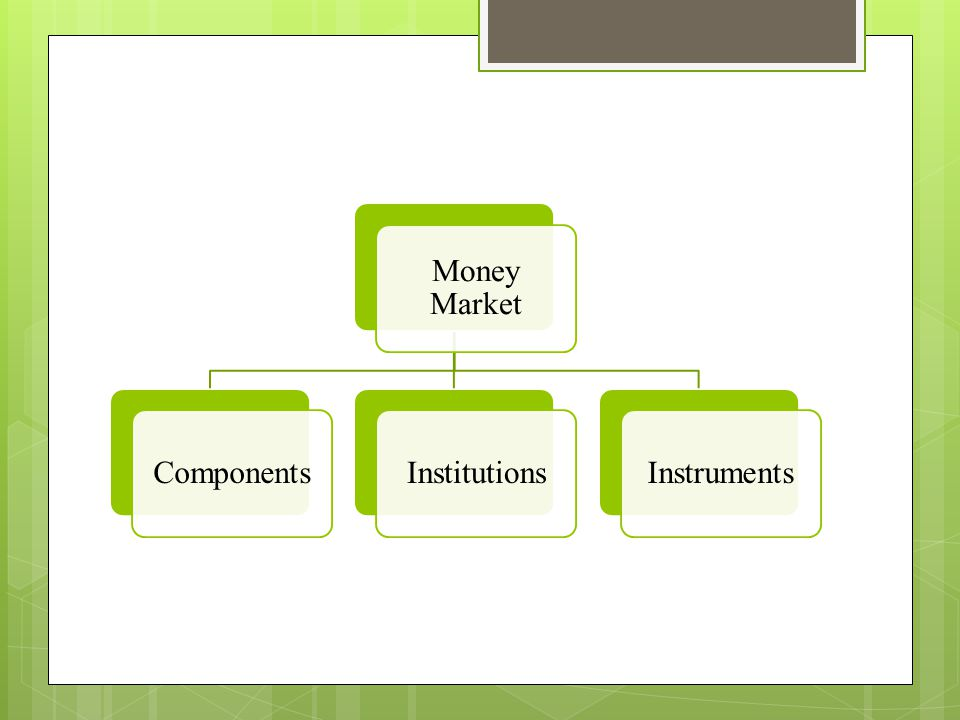 Money Market Components Institutions Instruments