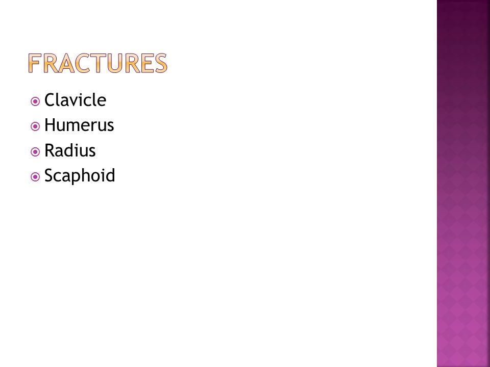 Fractures Clavicle Humerus Radius Scaphoid