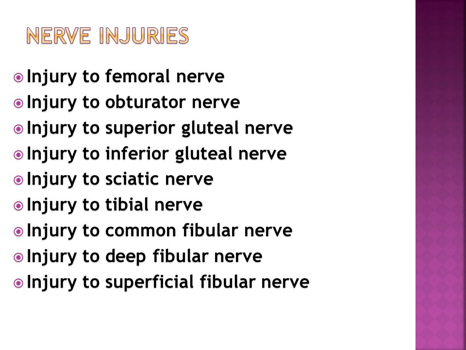 Nerve Injuries Injury to femoral nerve Injury to obturator nerve