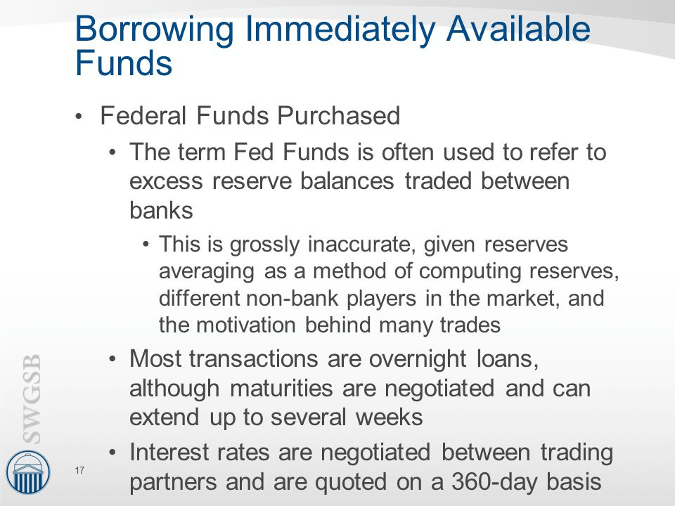 Borrowing Immediately Available Funds