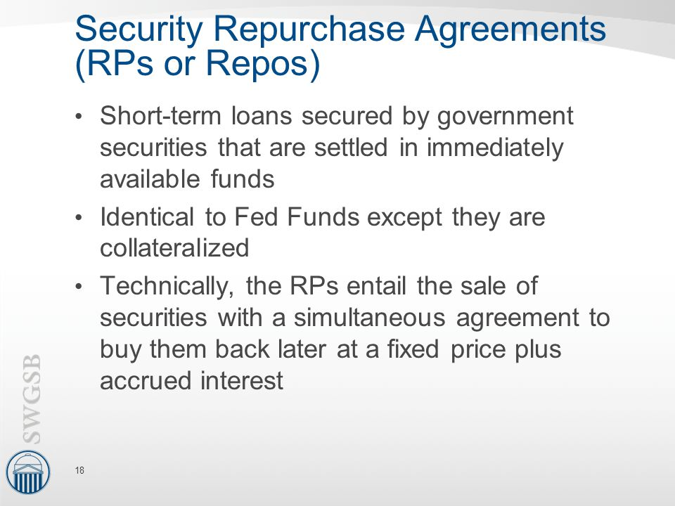 Security Repurchase Agreements (RPs or Repos)