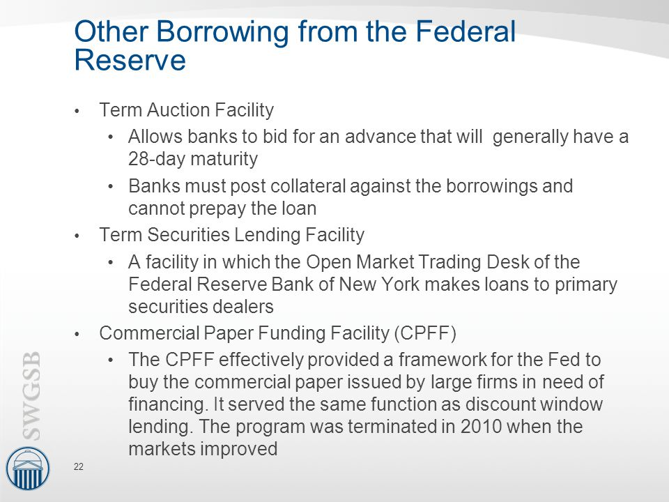 Other Borrowing from the Federal Reserve