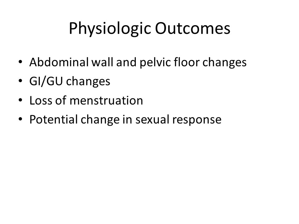 Physiologic Outcomes Abdominal wall and pelvic floor changes