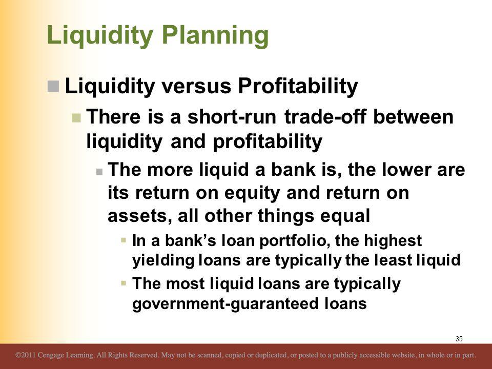 Liquidity Planning Liquidity versus Profitability