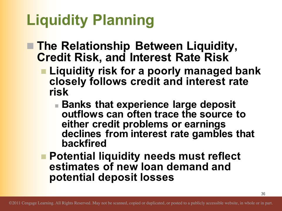 Liquidity Planning The Relationship Between Liquidity, Credit Risk, and Interest Rate Risk.