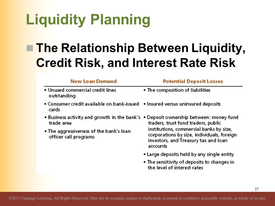 Liquidity Planning The Relationship Between Liquidity, Credit Risk, and Interest Rate Risk
