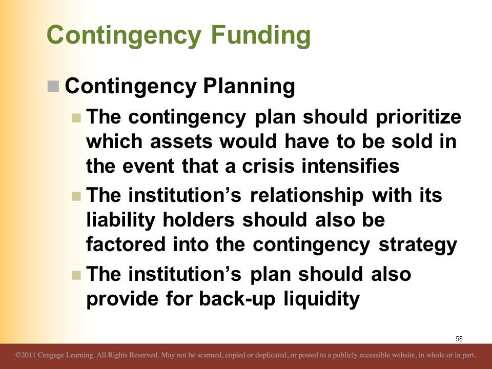 Contingency Funding Contingency Planning
