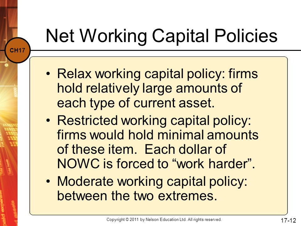 Net Working Capital Policies