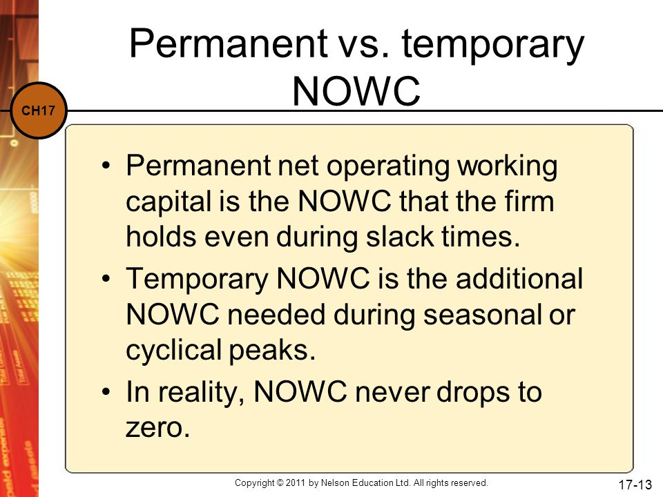 Permanent vs. temporary NOWC