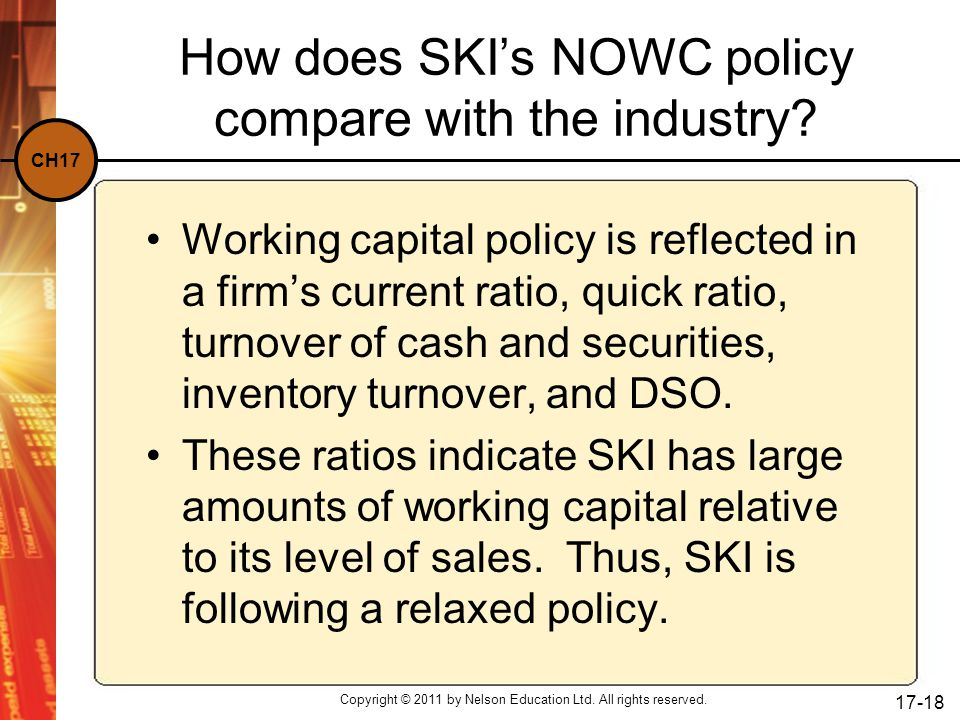 How does SKI's NOWC policy compare with the industry